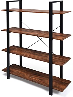 """Giantex 4-Tier Bookshelf Industrial Style Bookcase Vintage Wood Bookshelves with Metal Frame, Home and Office Organizer, Storage and Display Rack, Rustic Brown (41.5''Lx 13''Wx 55"""" H (4-Tier))"""