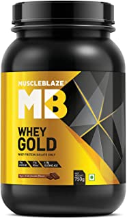 MuscleBlaze Whey Gold 100% Whey Protein Isolate with Digezyme - 750 g (Rich Milk Chocolate)