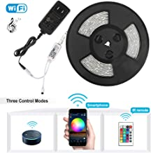 Led Light Strip,Nexlux Waterproof WiFi Wireless Smart Phone Controlled Strip Light Kit White PCB 5050 LED Lights,Working with Android and iOS System,IFTTT