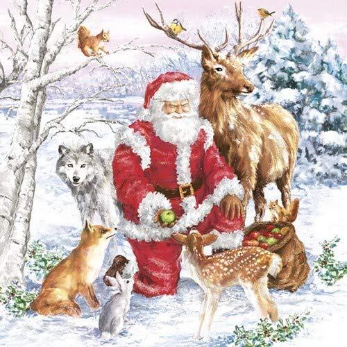 20 Servietten Weihnachtsmann füttert die Tiere als Tischdeko für den Winter und Weihnachten 33x33cm