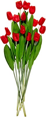Fourwalls Artificial Decorative Real Touch Mini Tulip Flower Sticks (33 cm, Red, Set of 12)