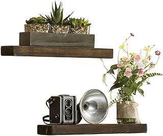 Del Hutson Designs-Rustic Pine Floating Shelves (Dark Walnut, 16 Inch)