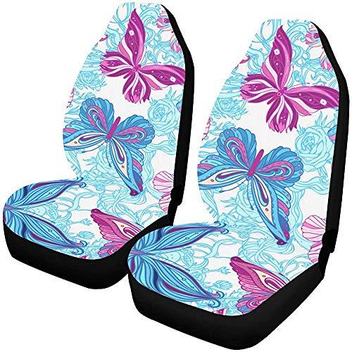 Vlinders en bloemen autostoelhoezen (set van 2) beste autostoelbescherming, geschikt voor de meeste voertuigen,