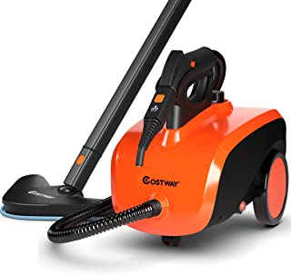COSTWAY Multipurpose Steam Cleaner with 19 Accessories, Heavy Duty Household Steamer Chemical-Free Cleaning, 1.5L Dual-Tank Rolling Cleaning Machine for Carpet, Floors, Windows and Cars