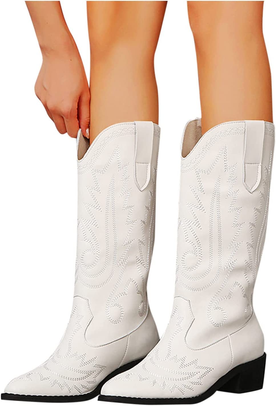 Boots for Women Shoes Boots Boots Mid Calf Booties Fashion Retro Embroidered Chunky Heel Bootie Short Boots Winter Vintage Cowboy Thick-Soled Heels Comfortable Motorcycle Boots (White, 8.5)