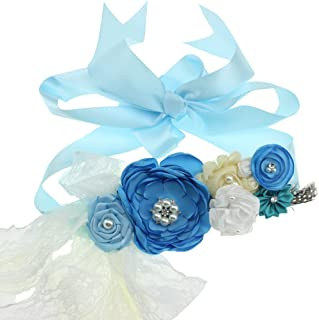 Maternity Sash Flower Belt Baby Shower Dress Accessories Bridesmaids Sash (Blue)