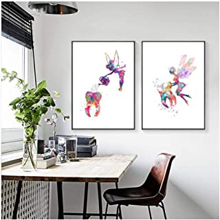 caomei Tooth Fairy Watercolor Canvas Painting Pictures Dental Hygienist Gift Dentistry Medical Poster Prints Clinic Wall Art Decor-50cmx70cmx2 pcs (no Frame)