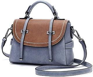 Fine Bag/Handbag Women's Shoulder Bag Splicing Contrast Small Square Bag Elegant Crossbody Bag Wild Lady Handbag Shopping Party Portable (Color : Blue, Size : 22 * 11 * 17cm)