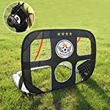 WISHOME 4FT 2 in 1 Pop Up Kids Soccer Goal Portable Kids Soccer Net, Easy Score Football Indoor/Outdoor Shooting Practice Goal for Backyard/Park Play with Round Zipper Backpack(L09)