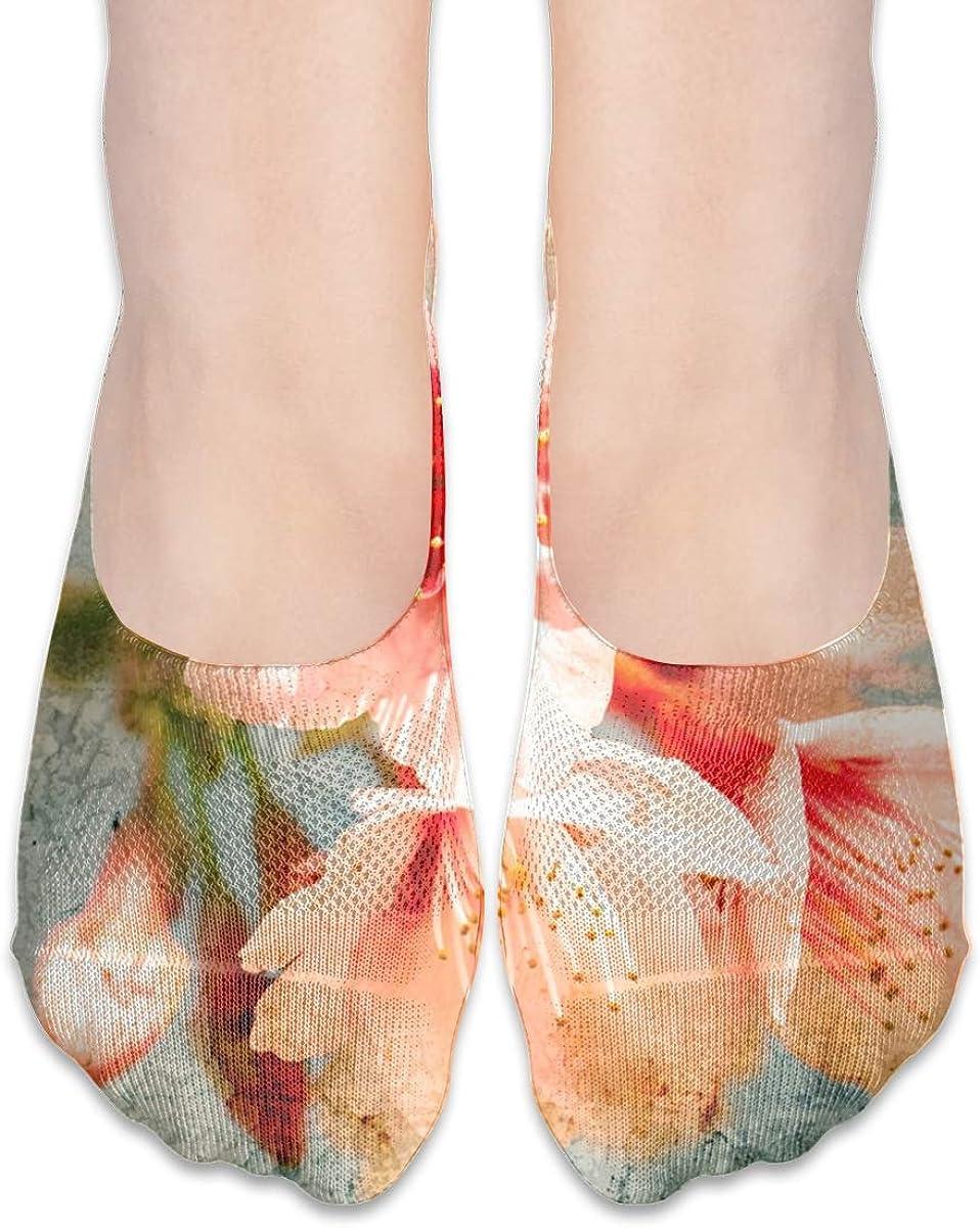 No Show Socks Women Men For Retro Himalayan Cherry Flower Flats Cotton Ultra Low Cut Liner Socks Non Slip
