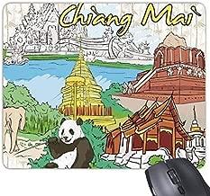 Panda Mouse pad,Kingdom of Thailand Thai Traditional Customs Culture Chiang Mai Panda Temple Art Illustration Rectangle Non-Slip Rubber Mousepad Game Mouse Pad