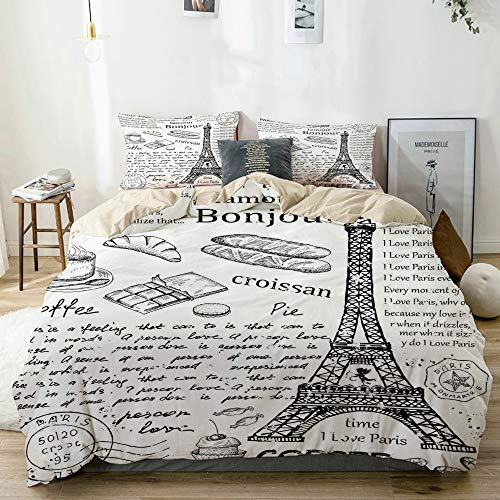 JOSENI Elementos parisinos Famosos Tradicionales Bonjour Croissan Coffee Torre Eiffel Microfibra Funda de Nórdico y Fundas de Almohada (Cama 200 x 200cm + Almohada 63X63cm)