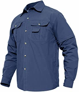 TACVASEN Men's Breathable Quick Dry Shirts UV Protection Solid Convertible Long Sleeve Rip-Stop Shirt