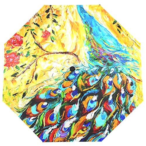 AOTISO Paraguas Plegable cercano Abierto automático, Compacto Hermoso del Paraguas del Viaje de la Pintura del Pavo Real a Prueba de Viento