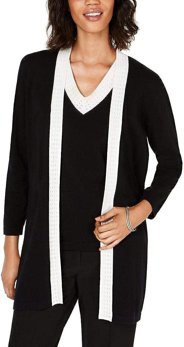 Kasper Womens Open Front Contrast Trim Cardigan Sweater B/W S