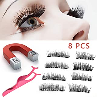 Magnetic Eyelashes,Upgraded 3D Magnetic Eye Lashes, Reusable Silk False Lashes, Ultra Thin Magnet, Light weight & Easy to Wear, Eyelashes with Applicator, 8 PCS with Tweezers