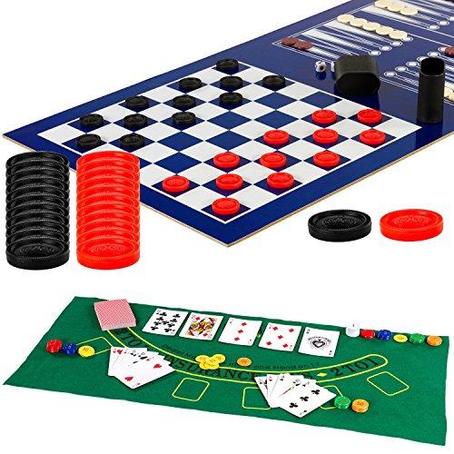 Maxstore Multigame Spieletisch Mega 15 in 1, inkl. komplettem Zubehör, Spieltisch mit Kickertisch, Billardtisch, Tischtennis, Speed Hockey uvm. in schwarzem Holzdekor - 8