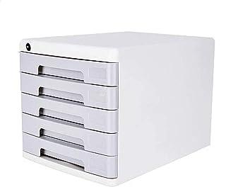 Armoire de bureau verrouillable en plastique à cinq couches avec tiroirs de rangement 27,1 x 36,1 x 26 cm (couleur : gris)