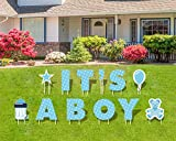 JHome It's A Boy Blue Baby Shower Lawn Decorations Yard Signs with Stakes - Each Letter is 18 Inch Tall - Includes Bonus Star, Teddy Bear, Milk Bottle and Balloon Signs