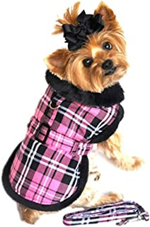 Doggie Design Pink Classic Plaid Wool/fur Collared Harness Coat W/leash Size X-Small (Chest 10-13