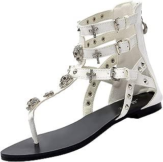 Odema Womens Flat Sandals Skull Rhinestone Gladiator Thong Dressy Sandals Back Zip