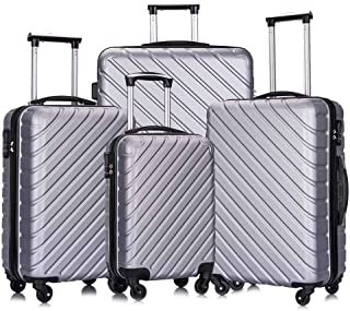 Fridtrip Carry On Luggage with Spinner Wheels Luggage Sets Travel Suitcase Hardshell Lightweight (Silver, 4 PCS)