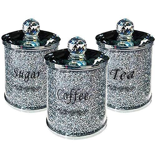 Ouken Diamante Aplastado Té Café Azúcar Té Café Cubos De Azúcar Conjunto con Tapa Triturada Cristal Relleno Multiuso Cocina Multiuso Almacenamiento De Vidrio Tarro 3pcs