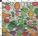 Apfel, Aubergine, Pilz, Gemüse, Mohrrüben, Erbsen,