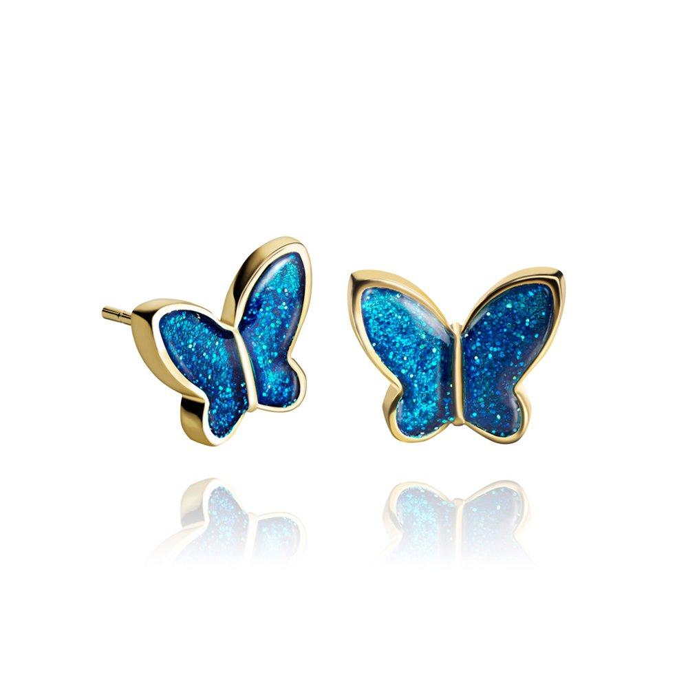 Fashion Pendientes de Tuerca Mariposa Brillo Chapado en Oro Azul Prusia; Divertido Regalo de Aniversario para Mujer; Diámetro 1.2cm