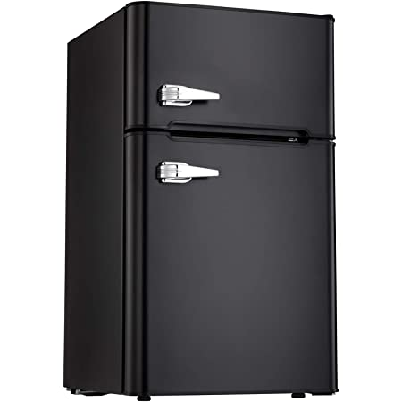 Classic Black Office,Dorm or RV Tavata 3.2 Cu Compact Refrigerator Double Door Mini Fridge with Top Door Freezer,Small Drink Chiller for Home classic black