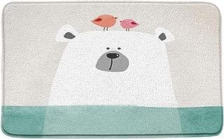 Microfiber Memory Foam,Cartoon Polar Bear with Cute Birds on Head Kids Illustration,Soft Bathroom Mat/Bath Rugs - Non Slip Absorbent,20x 31 Inch/50x 80cm,Beige White Aqua