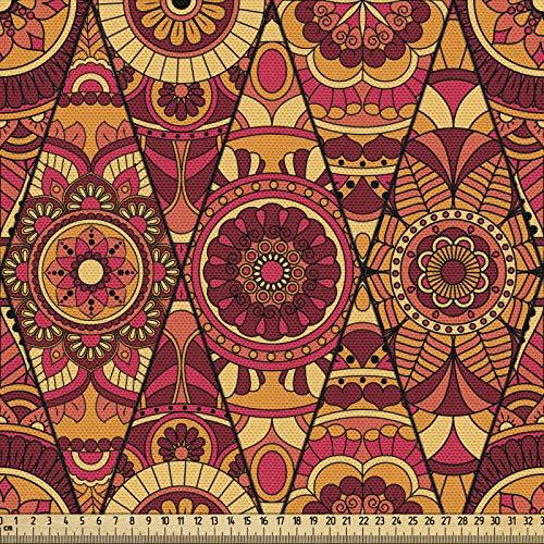 ABAKUHAUS Tkanina mandala jako towar na metry, Floral Boho, gęsto tkana tkanina do szycia, tapicerka, akcesoria do domu, 3M (148x300cm), wielokolorowa