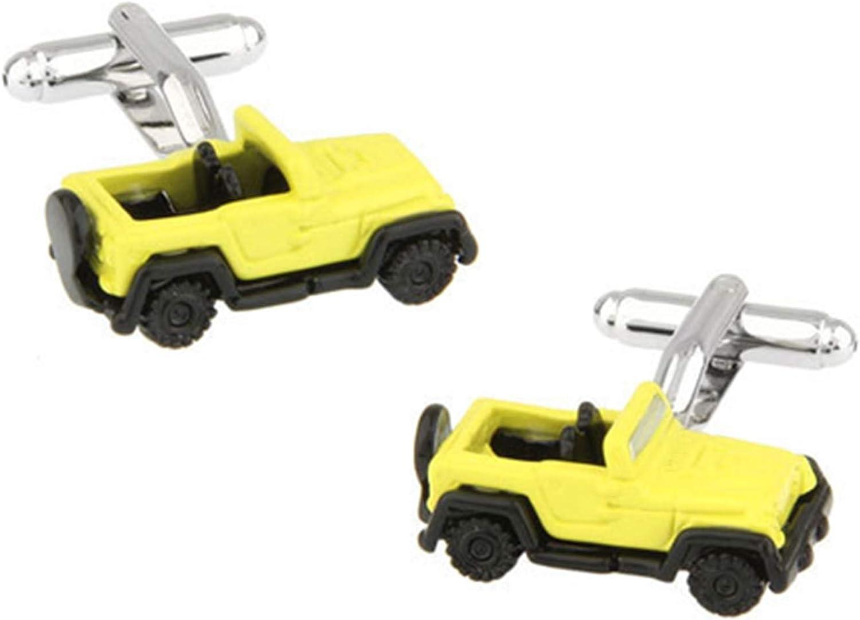 Daesar Cufflinks Shirt Studs Cuff Links Mens Car Cufflinks for Men Yellow
