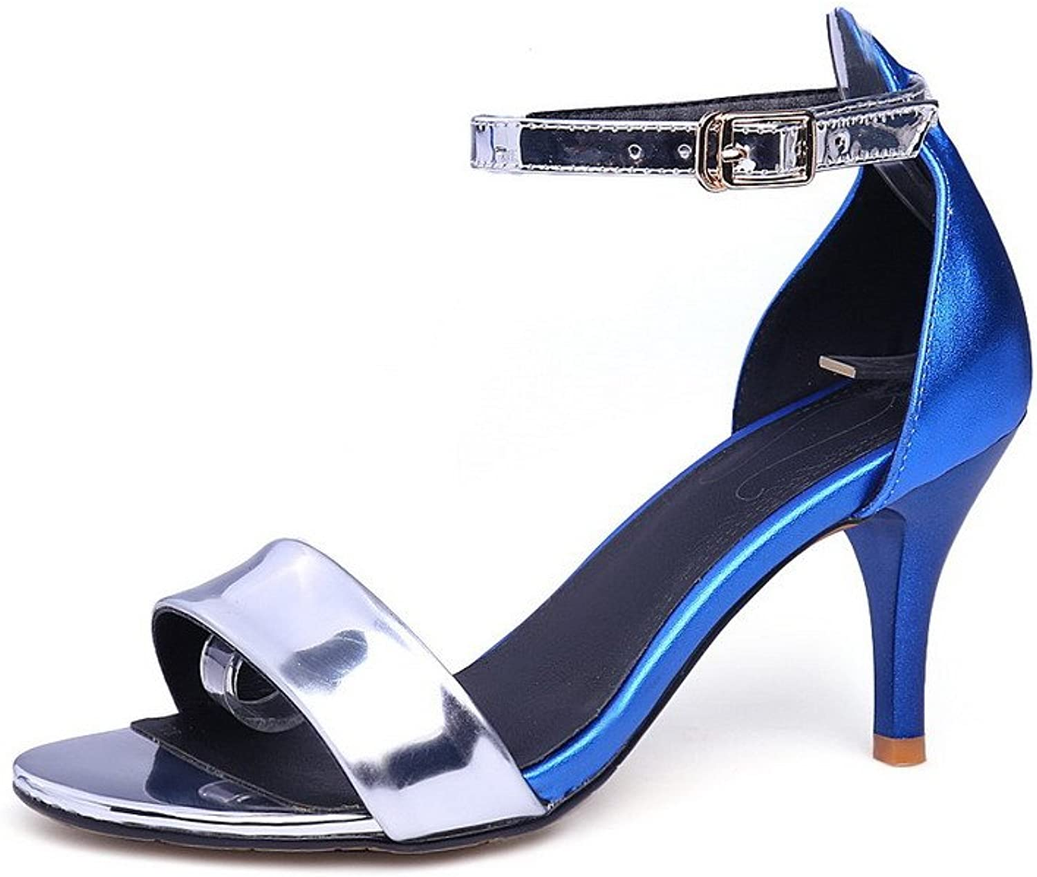 AmoonyFashion Women's Patent Leather Buckle Open Toe High-Heels Assorted color Sandals