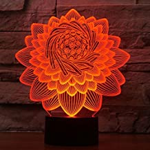 3D Lotus Flower Night Light Led Touch Switch Decor Table Desk Optical Illusion Lamps 7 Color Changing Lights LED Table Lamp Xmas Home Love Birthday Children Kids Decor Toy Gift