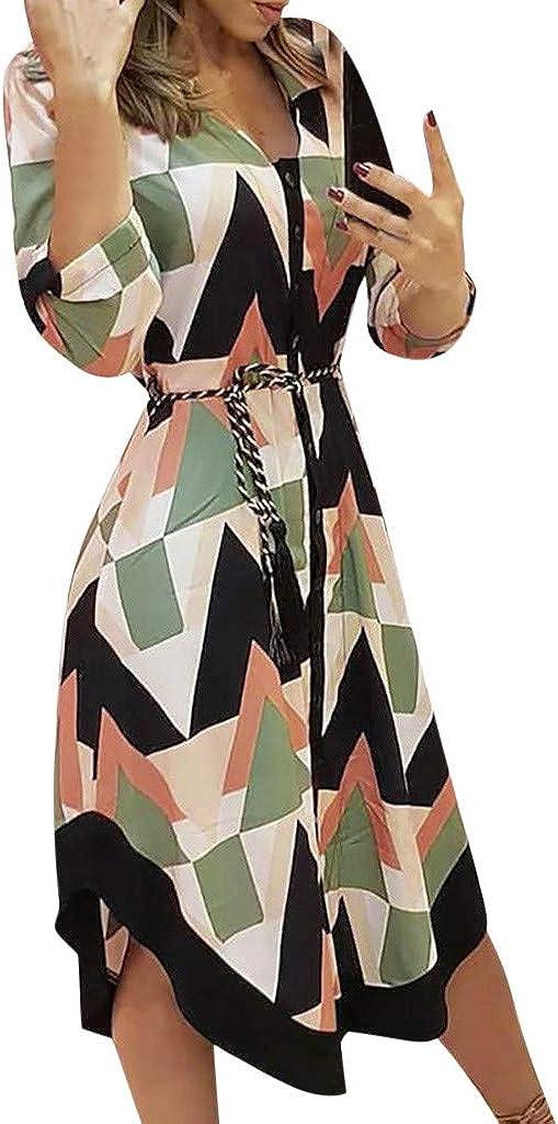 SZITOP Women's Bohemian Print Dress Summer Sleeve S Short Financial sales sale Neck V In a popularity