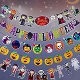 sky tears 5PCS Bunting Banners Halloween Estandarte Decoración Fiesta Colgante Boda Cumpleaños Fiesta Jardín Dormitorio Aula Banner (Bandera de Halloween- A)