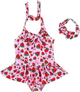 Baby Girls Swimsuit Tankini Bikini Toddlers One Piece Bathing Suit Swimwear Rashguard with Headband