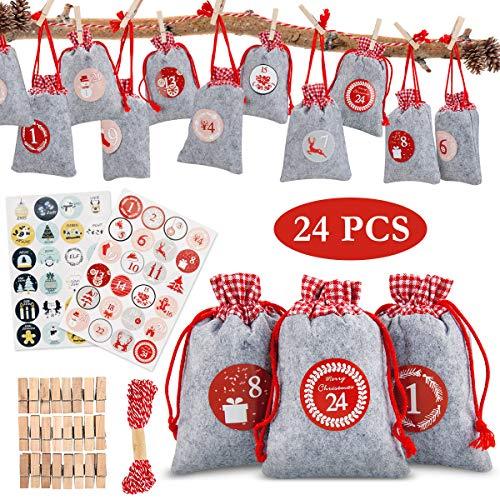 AODOOR Adventskalender zum Befüllen, Weihnachten Geschenksäckchen mit 1-24 Adventszahlen Aufkleber, Adventskalender Säckchen aus Filz, Stoffbeutel Jutesäckchen, Weihnachtskalender tüten Geschenkbeutel