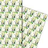 Kartenkaufrausch Lustiges Frosch Geschenkpapier Set als edle Geschenk Verpackung, 4 Bögen, 32 x...