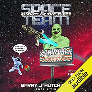 Space Team: Planet of the Japes                   By:                                                                                                                                 Barry J. Hutchison                               Narrated by:                                                                                                                                 Phil Thron                      Length: 8 hrs and 51 mins     114 ratings     Overall 4.8