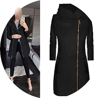 Winter Jacket Women High Collar Hooded Colorblock Zipper Long Sleeve Coat Jacket