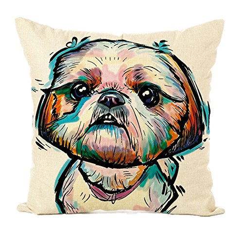 Easternproject Cute Pet Dog Painting Cotton Linen Throw Pillow Case Cushion Cover Square Animal Pillow Covers Home Decor 18 x 18 Inch (12# Shih Tzu)