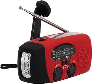 NOAA Weather Radio Solar Emergency Hand Crank Self Powered AM/FM/NOAA Solar Radios with 3 LED Flashlight 1000mAh Smart Phone Charger Power Bank(Red)