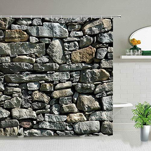 XCBN 3D Pebbles Stones Badvorhänge Neuheit Moderner Marmor Pebble Duschvorhang für Badzubehör Duschvorhang A17 150x180cm