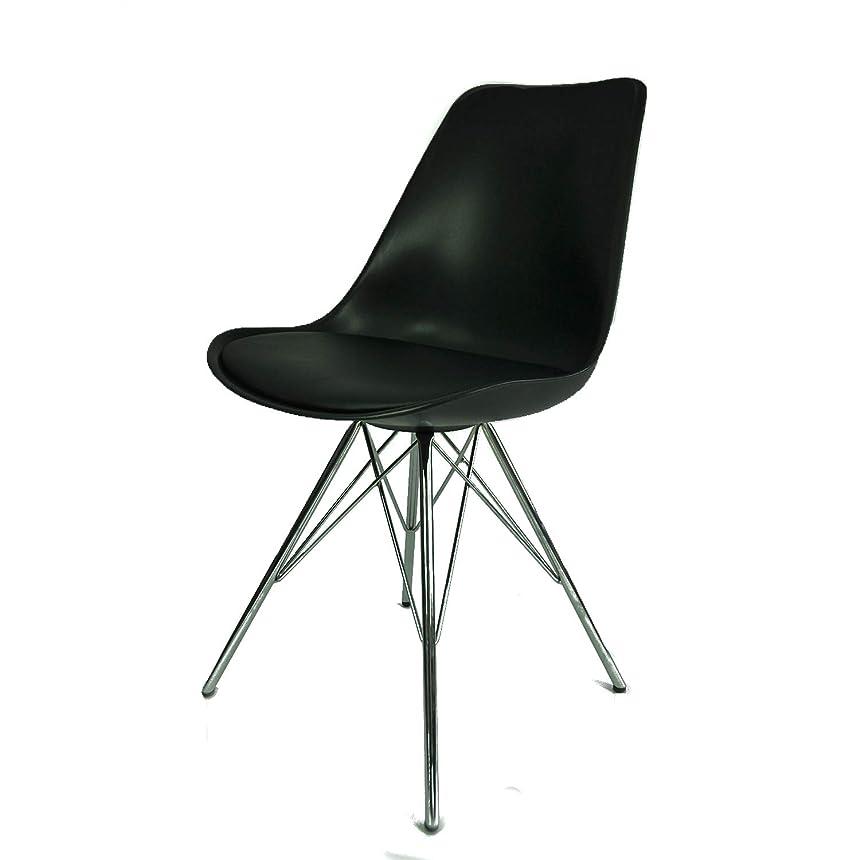 医療過誤内なるスーツケースダイニングチェア イームズチェア 肉厚クッション付き イームズ EAMES Eames DSR シェルチェア 食卓椅子 北欧 スチール脚 組立簡単 椅子 ブラック 9003BK
