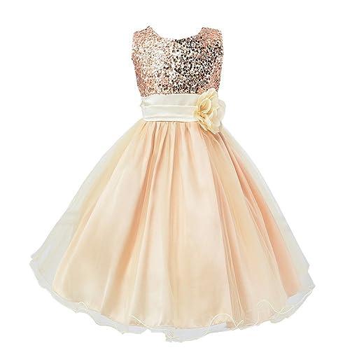 b5bb3a79 Fei Ying Feiying Girls' Sequins Sleeveless Long Dresses Flower Sash Wedding  Bridesmaid Formal