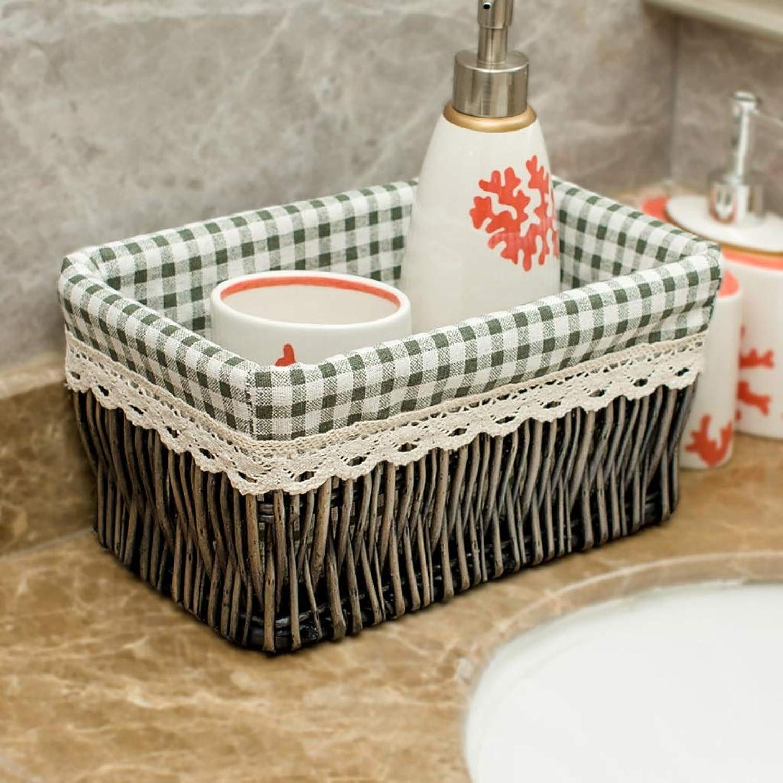 FANGFA Storage Basket Wicker Hand Weaving Living Room Bedroom Desktop Sundries Finishing Box (9 colors, 4 (color   9 , Size   44  34  21cm)