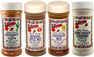 Bolner's Fiesta Flavors of the Southwest Meat Seasonings Variety Bundle: (1) Southwest Fajita, (1) Carne Guisada, (1) Chorizo and (1) Menudo
