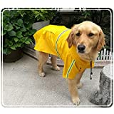 okdeals Dog Raincoat Leisure Waterproof Lightweight Dog Coat Jacket Reflective Rain Jacket with Hood for Small Medium Large Dogs(Yellow,L)